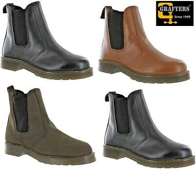 NEW Mens Grafters Real Leather Chelsea Dealer Black Brown Tan Boots Size 3 - 14