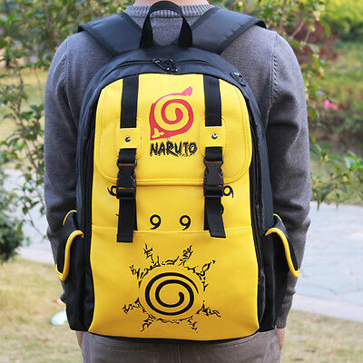Anime Naruto PU Leather Backpack Shoulder Bag School Bag Cosplay Prop Gift