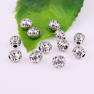 Tibetan Silver Metal Spacer Beads Round Charm Carved Jewelry Making Finding 6mm
