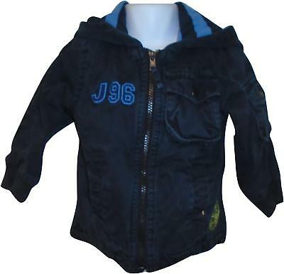 USED Boys Jasper Conran Navy Hooded Coat Size 18-24 Months (T.H)