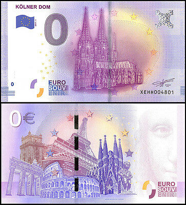 Zero (0) Euro Europe, 2017 - 1 (1st Print), UNC, Kolner Dom in Germany