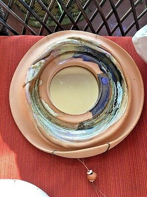 Hand Thrown Pottery Round Mirror in Terra Cotta w/Blue and artist Signed