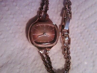 Vintage Women's HAMILTON 17 Jewels Hand Wind Gold Tone Bracelet Watch Runs OBO