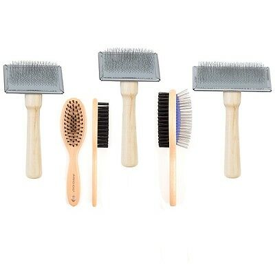 Ancol Ergo Dog Grooming Wooden Bristle Brush Double Sided Wood Handle Slicker