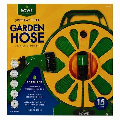 15m/50ft Flat Garden Hose Pipe Reel Set With Spray Gun Watering Water Nozzle New