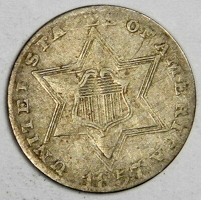 1857 3C Three Cent Silver- Bold Date Original Vf Priced Right!