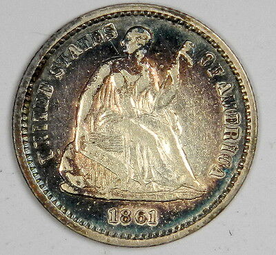 1861 Seated Half Dime - Beautiful Blue & Rose Toned Xf Priced Right! (Inv.1)