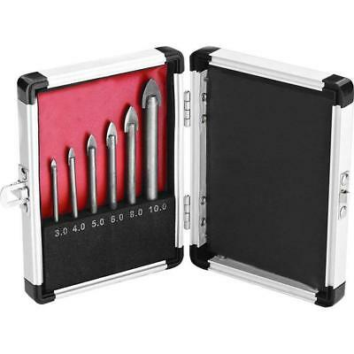 6 Piece Ceramic Tile and Glass Drill Bit Set - 3, 4, 5, 6, 8, 10mm with Alumini