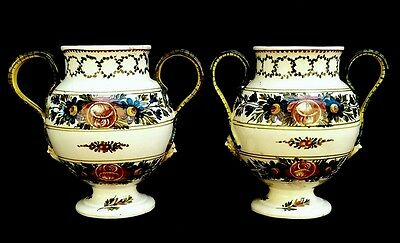 Stunning Antique 19th Century French /  Italian Faience Pottery Vases Pair