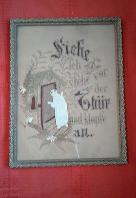 Antique Victorian Punch Paper Needlepoint Sampler German Religious