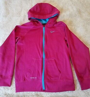 Nike Therma Fit Youth Girls XL Zip Up Hoodie Pink And Aqua