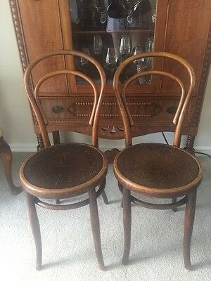 Antique Bentwood Parlor Bistro Chair Embossed Seat Perfect Pair