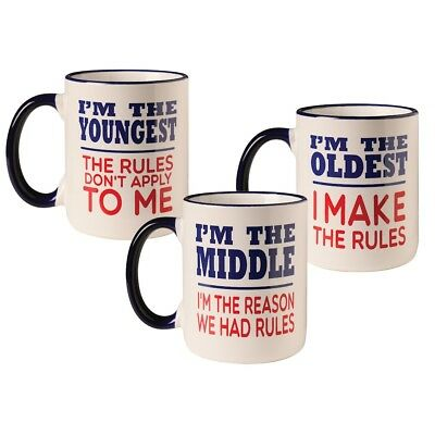 Rules Oldest, Middle, Youngest Child 12 oz. Ceramic Mugs - Set of Three