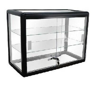 Glass Countertop Display Black Case with front lock