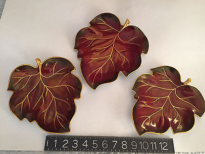 Set: Carlton Ware Rouge Royale 3 Leaf Plates 1 Large/2 Smaller Mint No Chips