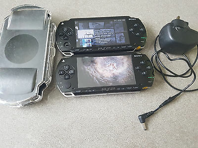 2X Sony PSP 1003 Black Handheld System with one game