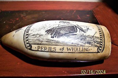 Scrimshaw whale tooth reproduction--exact copy-- weighted