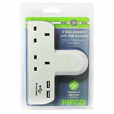 Pifco T-Shape Adapter Dual USB Charger Ports 2 Way Gang Extension Socket Mains