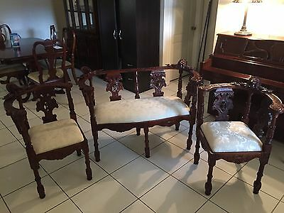 Antique Carved Wood Walnut Corner Chairs and Settee