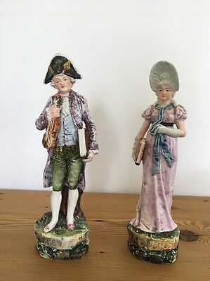 Antique Porcelain Majolica Figurines Man and Woman Musicians Numbered