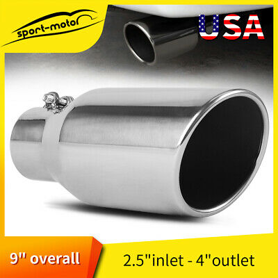 """4"""" Inlet 7"""" Outlet 18"""" inch Long Exhaust Tip Tailpipe 45° Slant Angle Cut"""