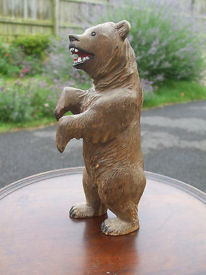 "Large antique carved Black Forest bear, over 8"" high, early 20th century"