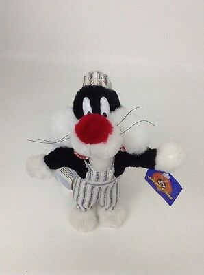 1998 Looney Tunes Play By Play  Sylvester Cat Train Conductor Push Stuffed Toy