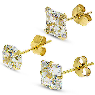 9Ct Gold Cz Single Stud Earrings Gents White Cubic Zirconia  Gift Box Free Post