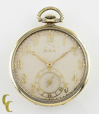 Elgin Crusader Open Face 14k Yellow Gold Antique Pocket Watch 12S 17J 1925