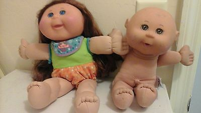 cabbage patch doll lot x 2 baby and girl hair brown,eyes blue