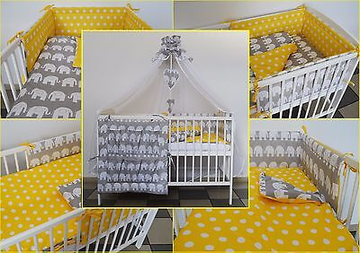 5 Pc Grey Yellow  Baby Bedding Set -Cot - Cot Bed - Luxury Canopy+ Bumper+More