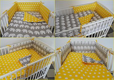 3 Pc Grey Yellow  Baby Bedding Set -Cot - Cot Bed -Bumper+Duvet, Pillow Covers