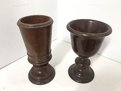 Pair Of Vintage Chalices Wooden Cups