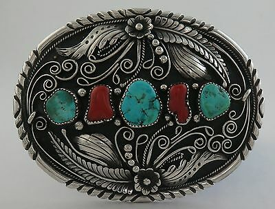 BIG & Heavy Old Pawn Sterling Silver Turquoise & Coral Western Belt Buckle