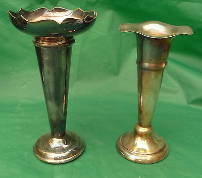 2 antique silver plate epns posy vases flowers wedding display