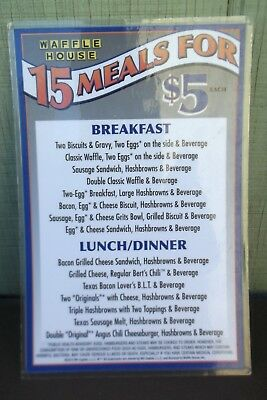 1 (one) Waffle House Laminated $5 Place Card / Menu Great for Retro Kitchen