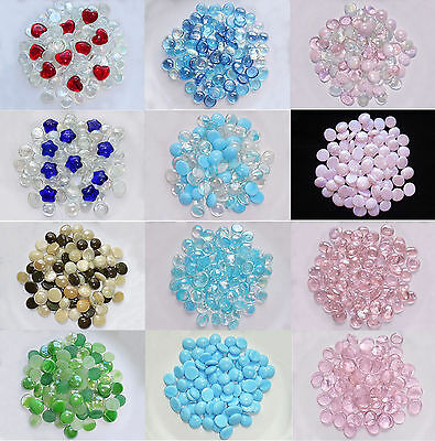 Glass Gems Mosaic Pebbles, Marbles Flat Bottom, Vase Fillers - 12 Color Choices!