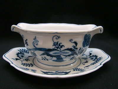 Blue Danube Gravy Boat with Attached Underplate Banner Mark