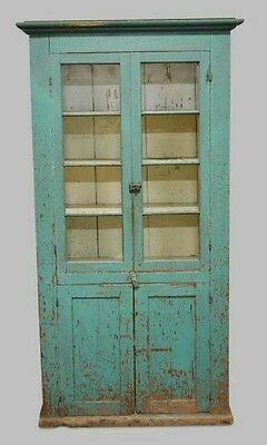 Phenomenal Antique Painted Two Door Country Cupboard Original Paint