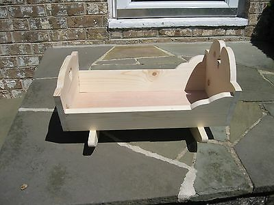 Waldorf Wooden Cradle For Dolls, Bears, Toys -  Handmade Unfinished Natural Wood