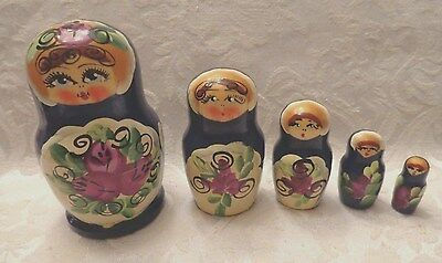 """Vintage Hand Painted Russian Nesting Dolls  Set of 5    3.5"""" In Height"""