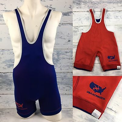 Vintage MATMAN WRESTLING SINGLET Adult Small BLUE/RED Reversible Made in USA