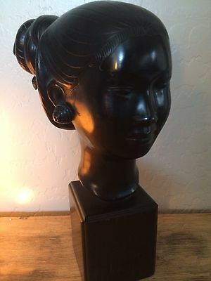 Antique Asian Vietnamese Cast Bronze Woman Head Statue Sculpture Bust Art Deco