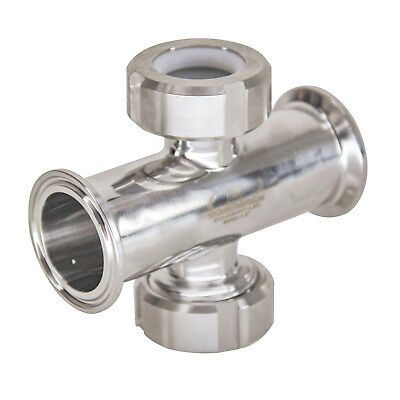 "HFS 1.5"" Inline Union Sight Flow Glass Sanitary Tri-Clamp Stainless Steel 304"