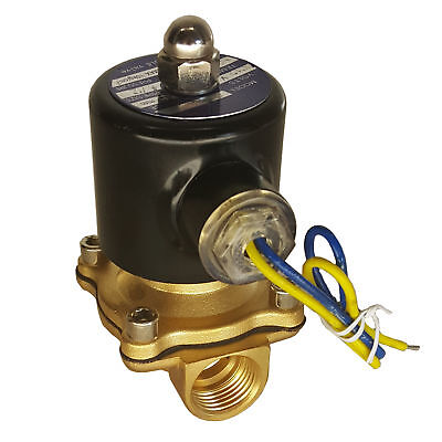"HFS(R) 110V Ac 3/4"" Electric Solenoid Valve Water Air Gas, Fuels N/C - Brass"