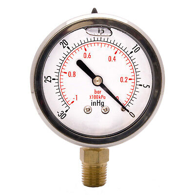 "HFS 2"" Oil Filled Vacuum Pressure Gauge - Ss/Br 1/4"" Npt Lower Mount -30Hg/0"