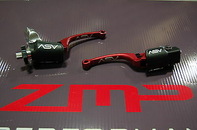 Honda Trx 250R 87 - 89 C6 Asv Clutch And Brake Levers Red Pair Pack Kit