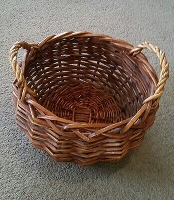 Large Round Woven Wicker Basket with Handles