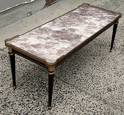 Great Quality Louis XVI Bronze Mounted Gilt Gallery Marble Top Coffee Table