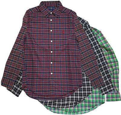 Ralph Lauren Boys Children Summer Check Blue Red White Long Sleeve Button Shirt
